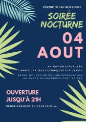 REPORTÉ AU 18 AOUT 2021 - PISCINE : SOIRÉE NOCTURNE ! 08-2021